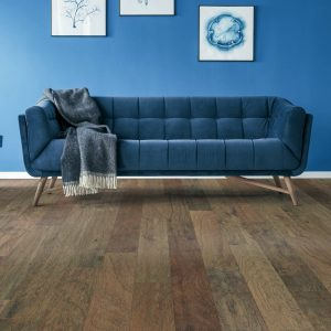 Blue couch on Hardwood floor| Floor Dimensions