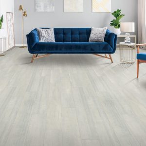 Blue couch on laminate floor| Floor Dimensions