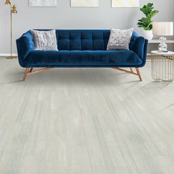Blue couch on Laminate flooring | Floor Dimensions